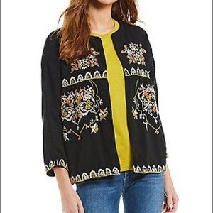 Chelsea & Theodore Open Front Embroidered Jacket